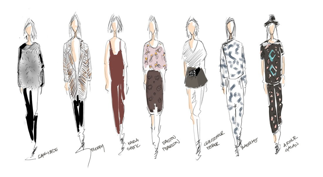 Fashion design model sketches